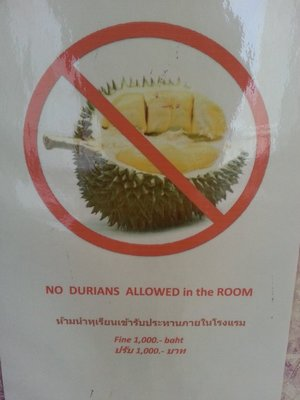 No durians inside the hotel