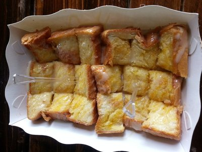 Toast with condensed milk and sugar