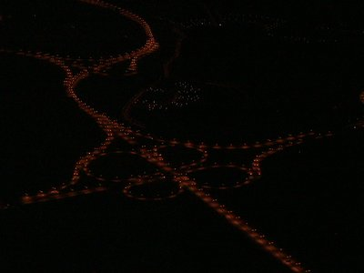 Aerial view of the highway at night