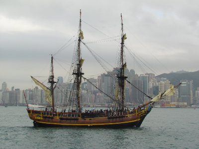 Old ship cruising along Victoria harbour