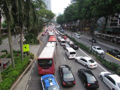 Orchard road during peak period