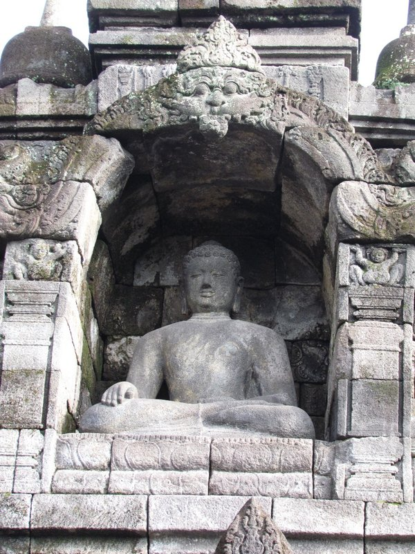 Buddha with Bhumisparsa mudra pose meaning calling the earth to witness