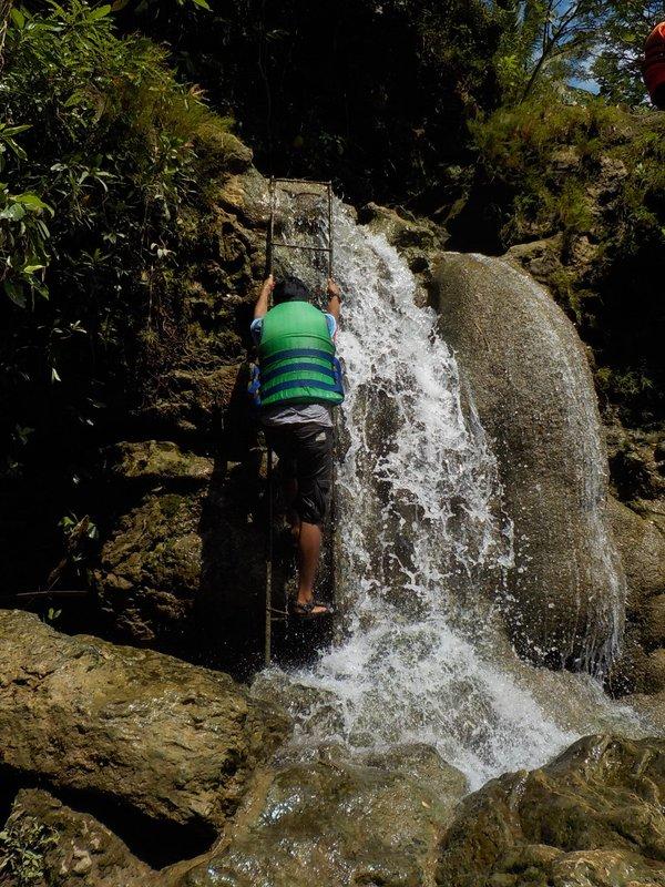 Climbing up the waterfall