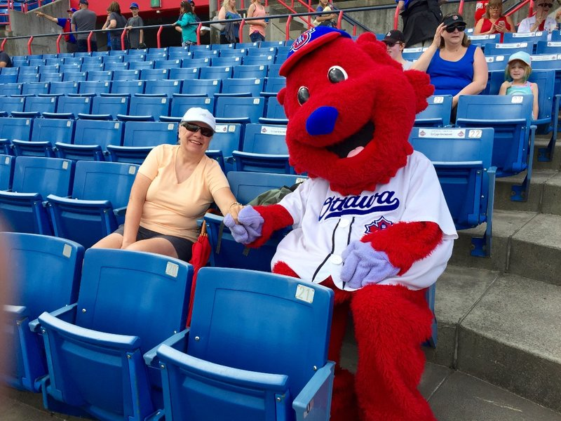 Kath and CHAMP at the good ole Ottawa Champions' baseball game!