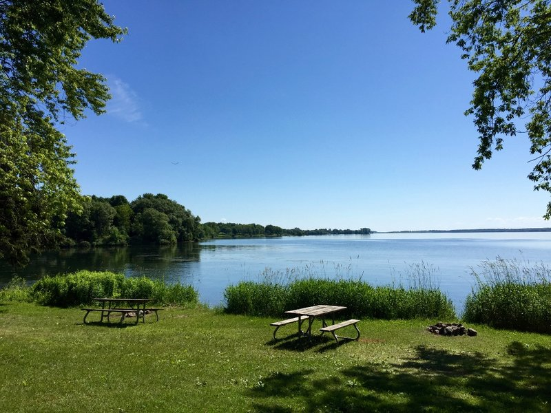 St. Lawrence River view from our McLaren Island Campsite