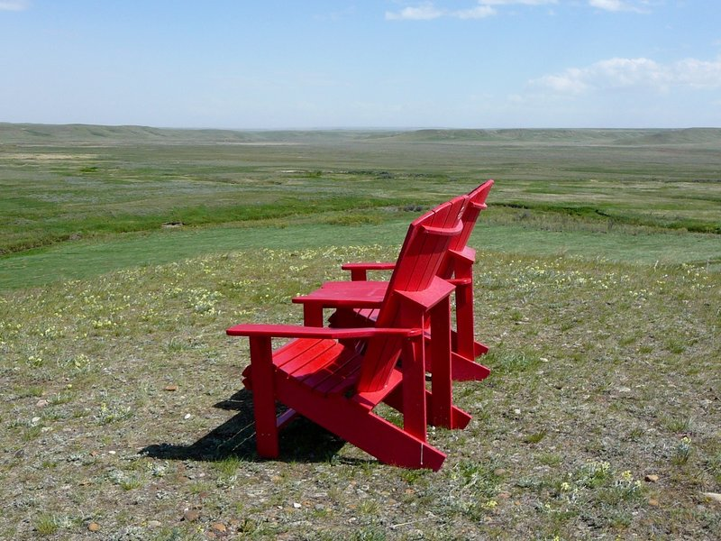 PC RED Chairs overlooking the Frenchman River Valley in GNP