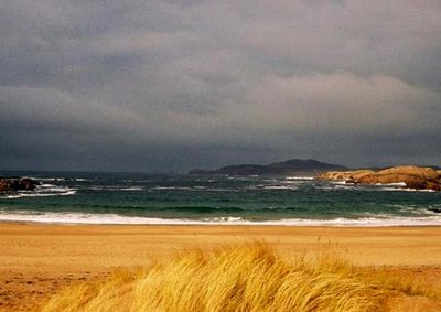 A storm brews over one of the many beautiful beaches on Cruit Island, Kincasslagh, Donegal County
