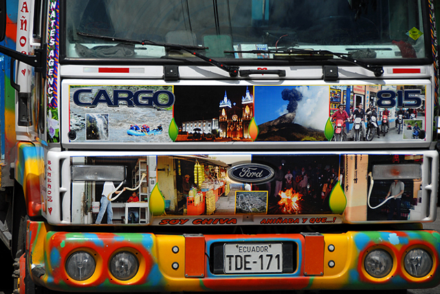colourful tourist bus in Baños