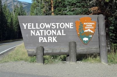 Entrance Sign, Yellowstone, Montana, US 2015 - Yellowstone National Park