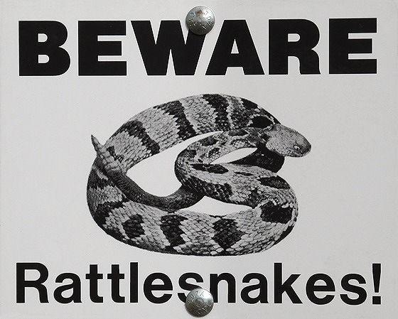 Snake Warning, Badlands National Park, SD, US 2015 - Badlands National Park