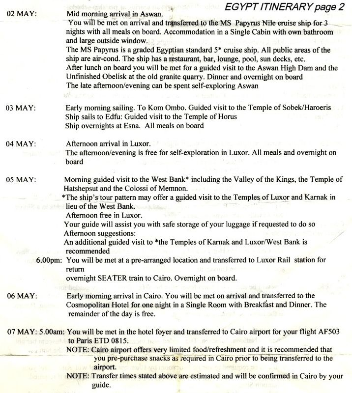 EGYPT ITINERARY page 2_2001 - Aswan