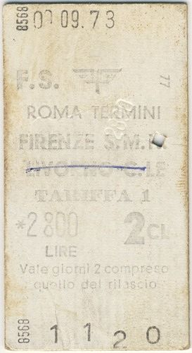 train ticket, Florence, Italy 1973 - Florence