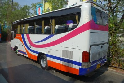 Parked tourist bus