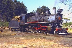 Locomotive stopped for wood fuel loading - Campinas
