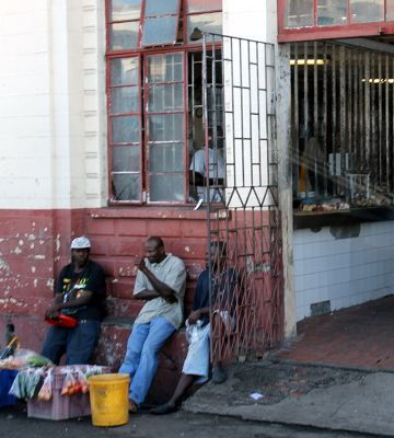 Sitting out in front of the Meat Market - Saint George's