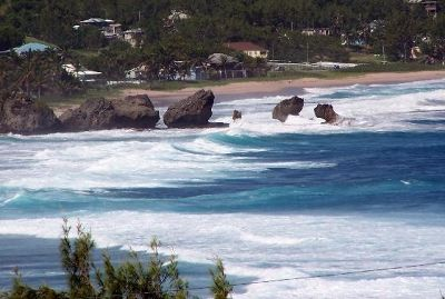 Surf at the Soup Bowl from above Bathsheba - Barbados