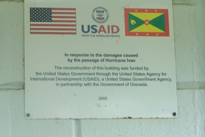Sign in the park information building - Grenada