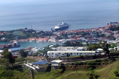 Maasdam at the pier from the fort - Grenada