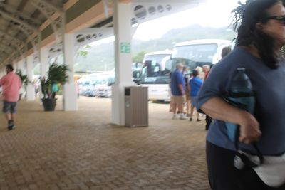 Area where passengers met the buses for Carnival tours - Amber Cove
