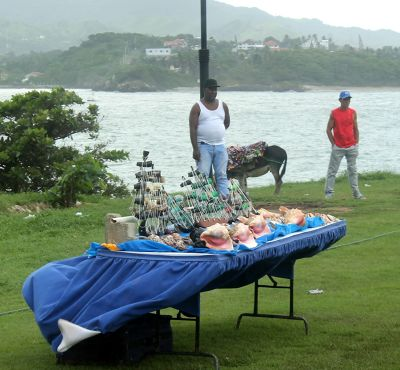 Souvenir sellers and a donkey - Puerto Plata