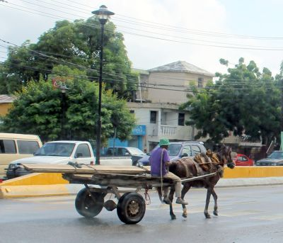 Axle with two wheels pulled by a horse  - Puerto Plata