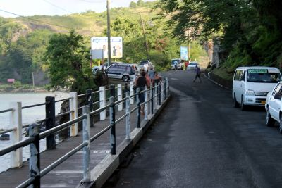 Pedestrian bridge on the left - Grenada