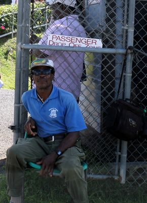Man at the fort gate - looked like Snoop Dog - Grenada