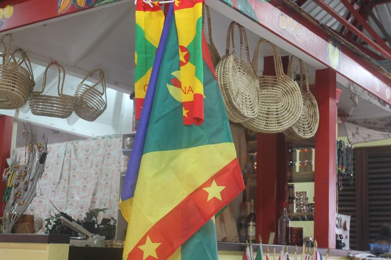 Baskets hand around the Grenada flag - Saint George's