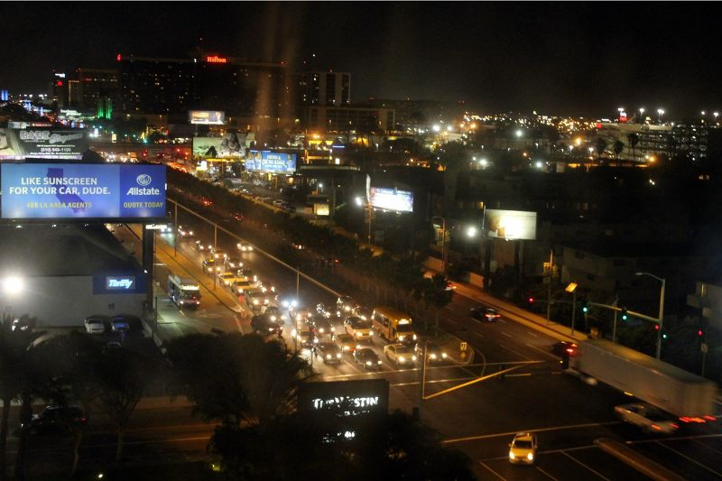 View from the hotel room at night - Los Angeles