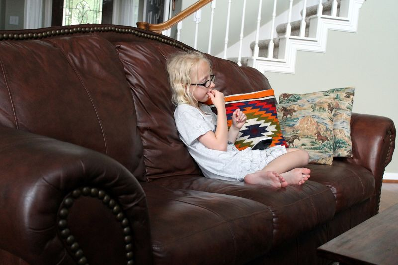 youngest granddaughter watching TV - Houston