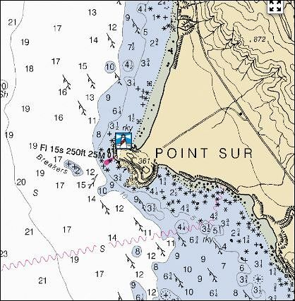 Nautical chart for the lighthouse - Big Sur