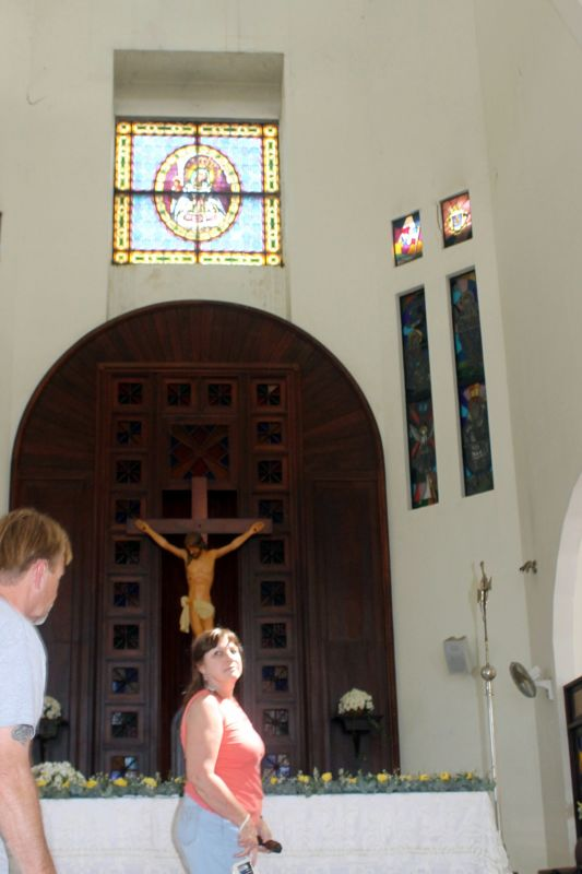 Going into the cathedral to have a picture taken - Puerto Plata
