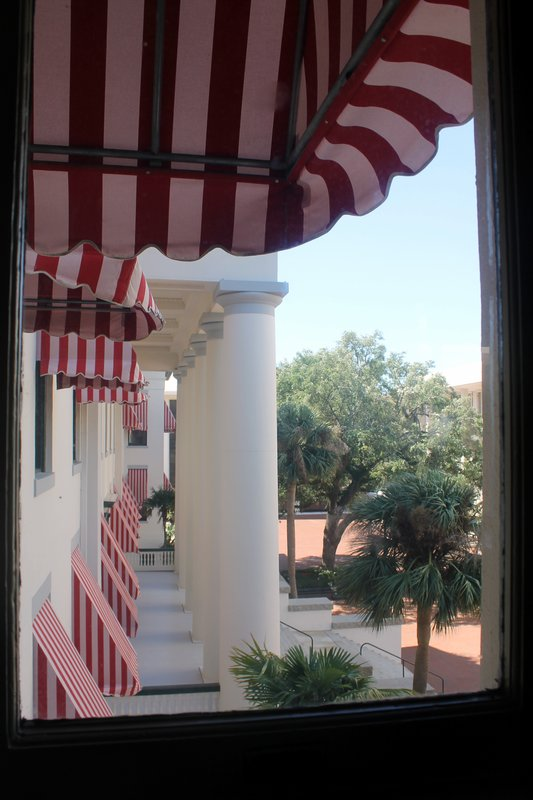 Red and white striped awnings