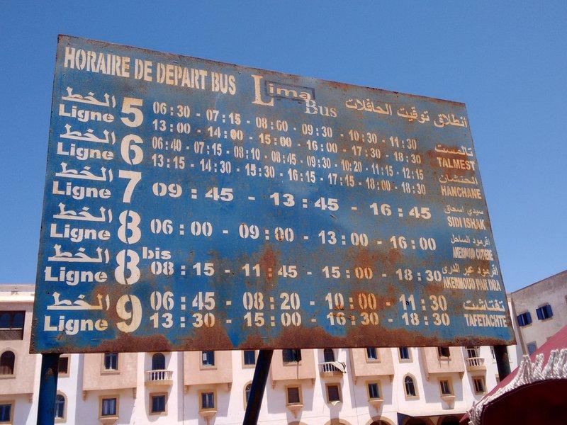 Essaouira Lima bus timetable at main stance Bab Doukkala