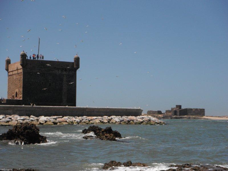 Essaouira port, Skala and offshore island fort