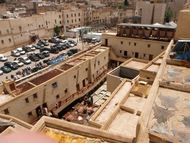 Fes el Bali medina, Morocco, an overview of the Chouara tannery.