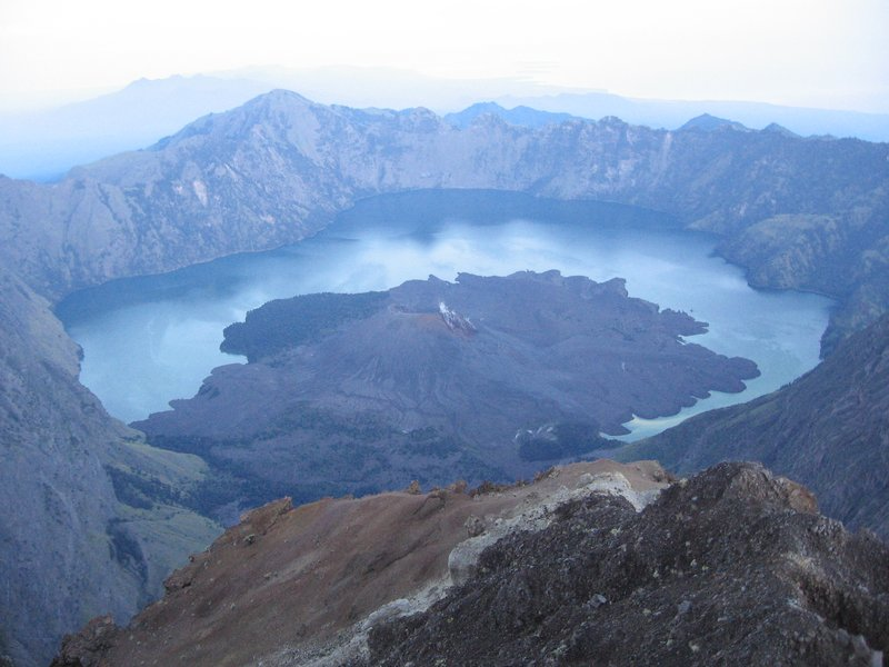 Crater Lake from Rinjani Summit