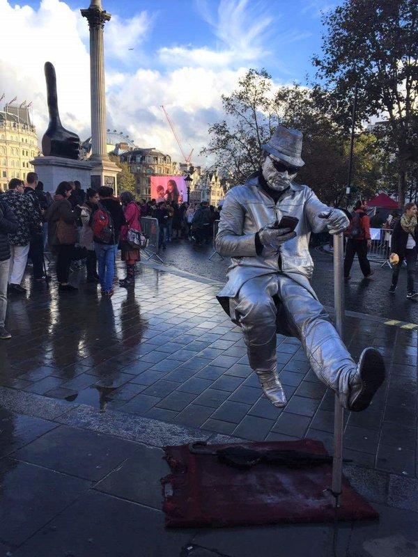 Some weird man on Trafalgar Square