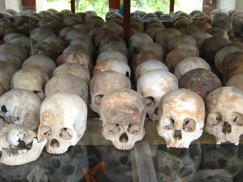 Skulls at the killing fields - Phnom Penh