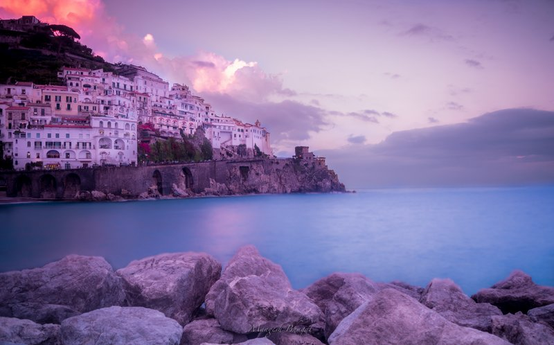 Long exposure photo of Amalfi coast