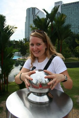 Stefanie and the magic ball at KLCC Park