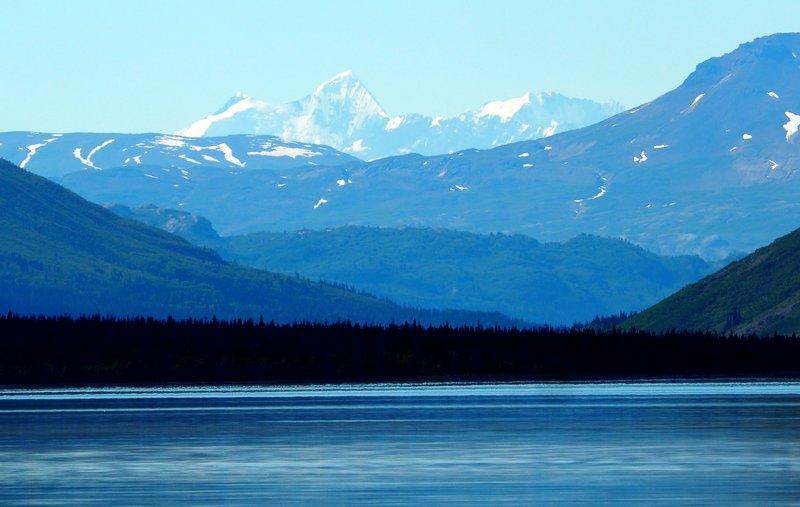 View of St Elias Mountains from Kathleen Lake