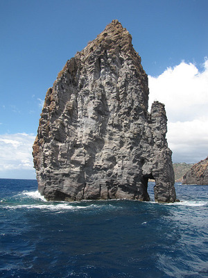 A volcanic rock deposit in the ocean near Lipari