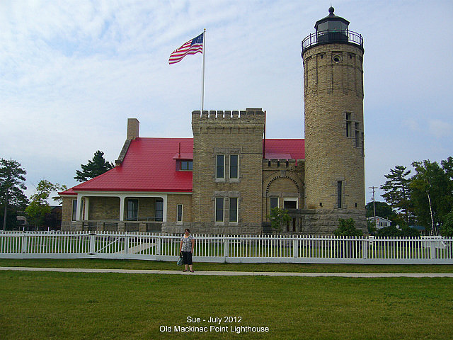Sue in front of Old Mackinac Point Lighthouse