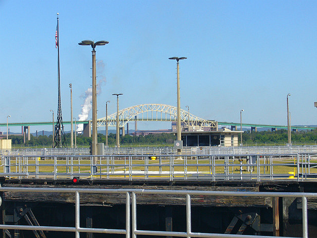 Looking at Sault Ste Marie Bridge from Soo Locks