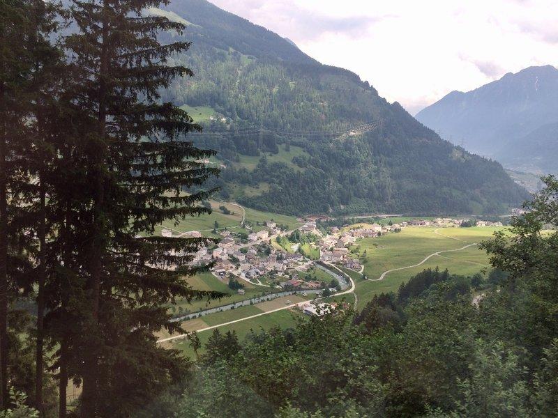 High above a village