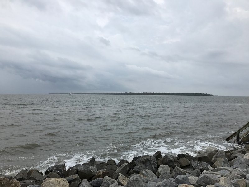 Beach of St. Simons Island, GA with Jeckyl island visible