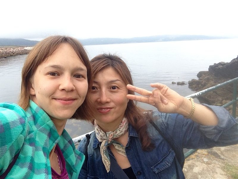 With pilgrim from South Korea