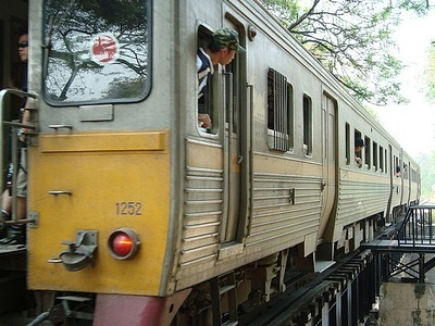 Kburi - train on the Bridge over the River Kwai