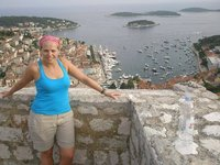 Elise with Hvar town in background